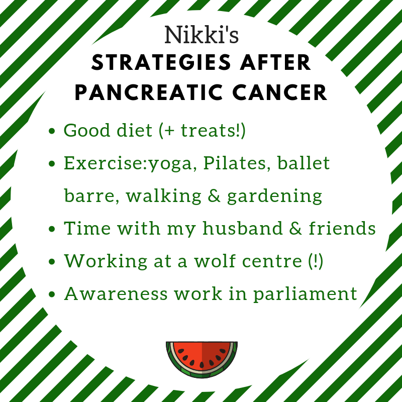 a good diet, without being OTT (treats are important!) exercise (I do yoga, Pilates and ballet barre once each a week plus lots of walking and gardening) spending time with my husband and friends spending a lot of time working at a wolf centre(!) awareness work in parliament