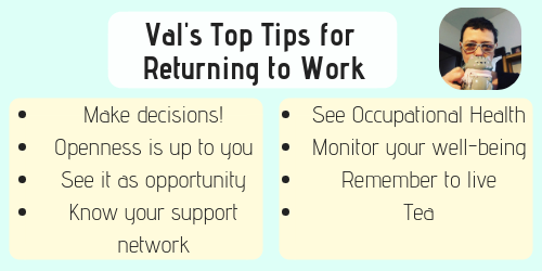 Val Top Tips returning to work after cancer
